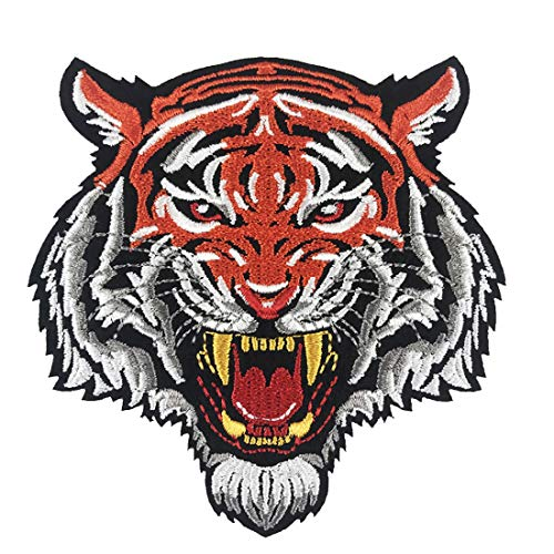 Roaring Tiger Head Striped Bengal Face Embroidered Badge Iron-On Sew On Applique Patch