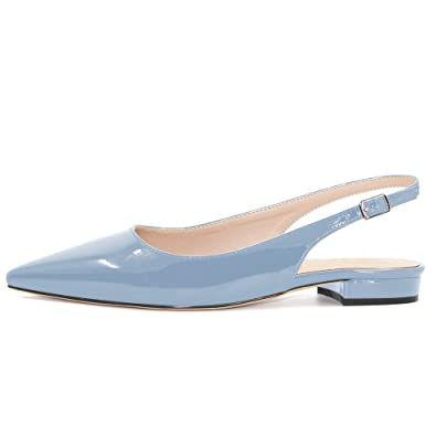 52fa316022a Modemoven Women s Pale Blue Patent Leather Slingback Flats Sandals ...