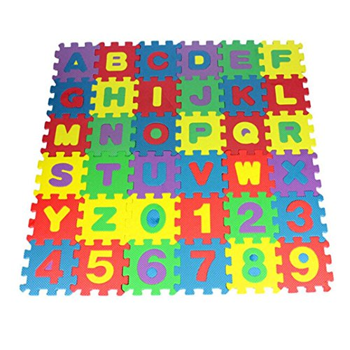 Shybuy Alphabet and Numbers Foam Puzzle Play Mat, 36 Tiles Each Tile Measures 12 X 12 cm For a Total Coverage Of 36 Square Feet (Multicolor)