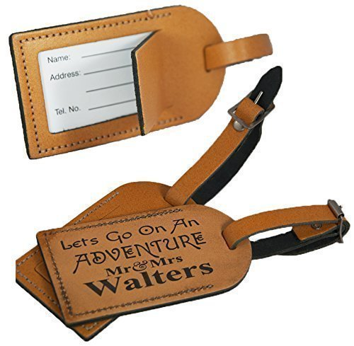 Personalised Leather Luggage Tag for suitcases - Made in the UK from 100% Leather - Honeymoon Mr& Mrs Adventure - L1011