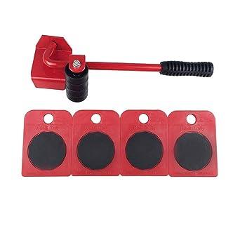 Juego de 5 piezas de herramientas para mover muebles, palanca de levantamiento pesado con 1