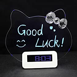 Itemship Hello Kitty Creative Silent Multifunctional Fluorescent Message Boards Digital Snooze Alarm (Batteries Not Included) (Blue Display)