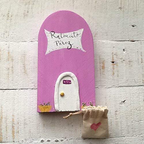 Puerta Mágica ROSA del Ratoncito Pérez en. Incluye bolsita de tela con un corazón en rosa para dejar el diente.!!Puerta Mágica!!! Dimensiones: 18 * 9 ...