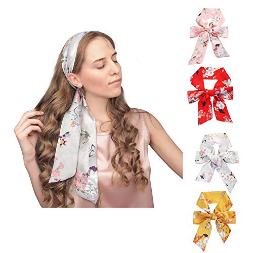 Chiffon Headband Ties Silk Scarfs for Women 4 Pcs Hat Handbag Hand Ribbon
