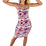 Kimloog Women's USA American Flag Star Print Striped Dress Sleeveless Knee Length Sundresses (XL)