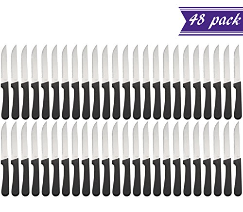 (Set of 48) Seratted-Edge Pointed-Tip Steak Knives, 5-Inch Stainless Steel Blade Steak Knives with Plastic Handles for Restaurants by Tezzorio Tabletop Service (Image #5)