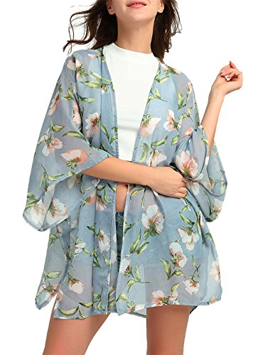 DREAGAL Women's Sheer Chiffon Blouse Loose Tops Kimono Floral Print Cardigan XL