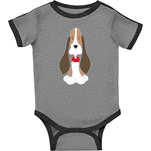 inktastic Basset Hound with Infant Creeper 12 Months Ringer Heather and Smoke