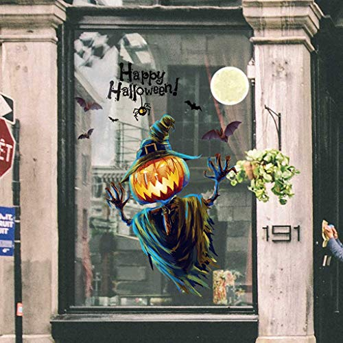 Happy Halloween Mural (Iusun Happy Halloween Wall Sticker Background Wallpaper Window Glass Cabinet Removable DIY Mural Paper Decoration for Living Room Home Nursery Bedroom Office Supplies Decal)