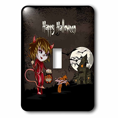 3dRose LLC lsp_129770_1 Happy Halloween Devil Girl Trick Or Treating Haunted House Spooky Halloween Scene Single Toggle Switch -