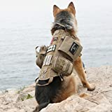 Image of OneTigris Tactical Dog Molle Vest Harness Training Dog Vest with Detachable Pouches (Tan, Large)