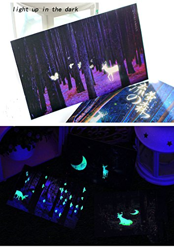 Glow In The Dark Postcards Set of 30 Woodland Animals Forest Deer Postcard Post Card Greeting Cards (Variety Pack)