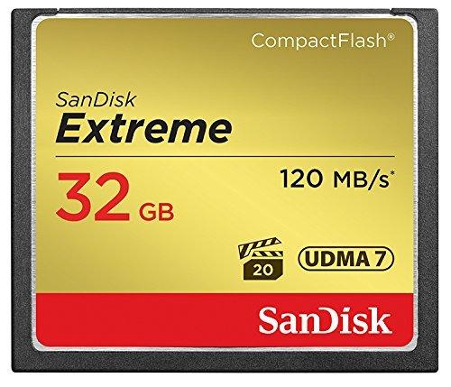 Carte Mémoire CompactFlash SanDisk Extreme UDMA7 32 Go avec une Vitesse de Lecture Allant Jusqu'à 120 Mo/s (SDCFXSB-032G-FFP) Carte mémoire