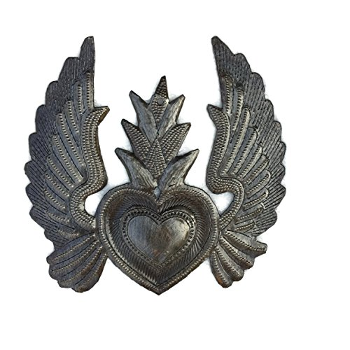 (Metal Heart with Wings, Milagro Flaming Heart, Flying Heart, Angel Wings, Handmade, Small Ornamental, Decorative 5