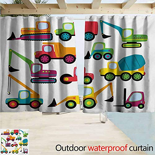 AndyTours Custom Curtain,Construction Cute Style Vehicles and Heavy Equipment Forklift Earthmover Excavator Mixer,Rod Pocket Energy Efficient Thermal Insulated,W55x45L Inches,Multicolor
