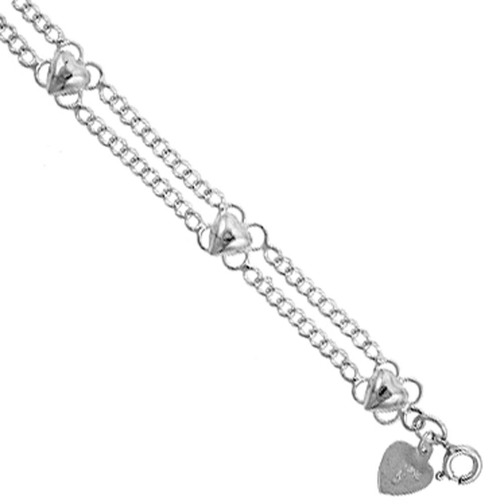 Sterling Silver Hearts Charm Bracelet 8mm wide, fits 7-8 inch wrists