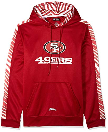 Zubaz Men's San Francisco 49ers, Pullover Hood, X-Large