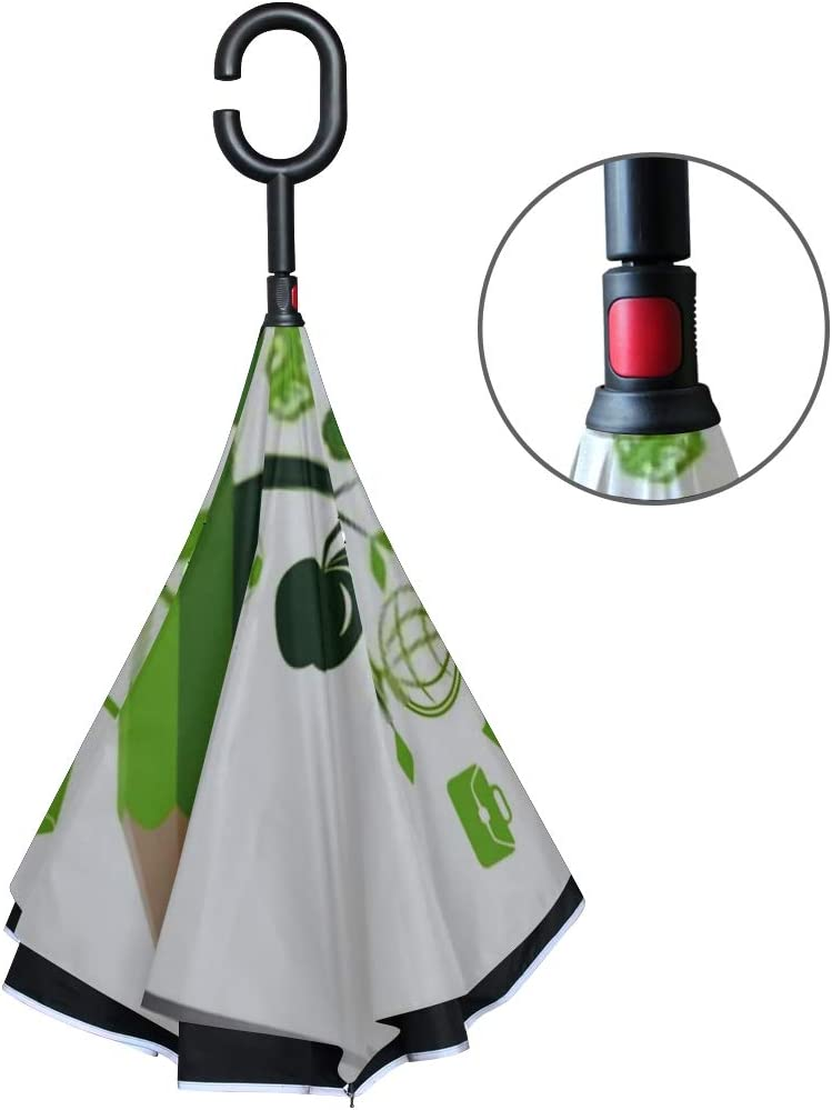 Double Layer Inverted Inverted Umbrella Is Light And Sturdy Green Tree Pencil Back School Concept Reverse Umbrella And Windproof Umbrella Edge Night
