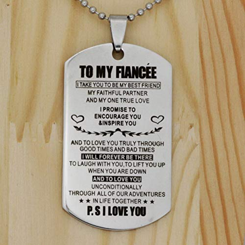 Blerameng to My Fiancee Dog Tag Necklace Future Wife Girlfriend Valentine  Gift