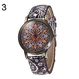 yanbirdfx Bohemia Women Colorful Flower Pattern Round Dial Faux Leather Quartz Wrist Watch - 3#