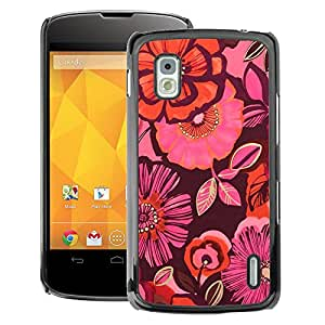 A-type Arte & diseño plástico duro Fundas Cover Cubre Hard Case Cover para LG Nexus 4 E960 (Wallpaper Pattern Purple Peach Pink)
