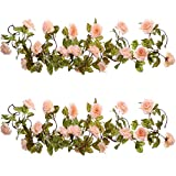 Well Love Artificial Flower Rose Vine Garland 8FT/Piece for Home Kitchen Wedding Party Garden Festival Office Outdoor Hanging Arch DIY Craft Art D¨¦cor (Baby Pink)
