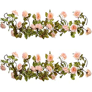 Well Love Artificial Flower Rose Vine Garland 8FT/Piece for Home Kitchen Wedding Party Garden Festival Office Outdoor Hanging Arch DIY Craft Art Decor Gift Set 63