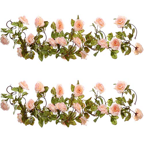 Well Love Artificial Flower Rose Vine Garland 8FT/Piece for Home Kitchen Wedding Party Garden Festival Office Outdoor Hanging Arch DIY Craft Art D¨¦cor (Baby Pink) by Well Love