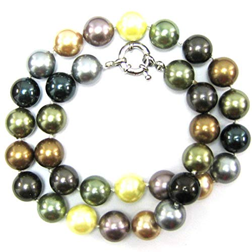 12mm Multicolor Shell Pearl Round beads Necklace 18'' S3