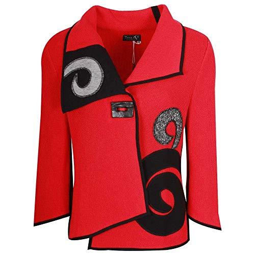 Cardigan Tivoli Swirl amp; Detail Red Knit Black RqCOURZ