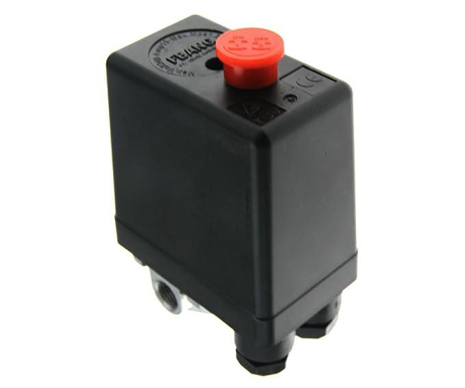 Nueva 90 - 120 PSI regulador de aire compresor presión interruptor de control Indicadores de socorro: Amazon.es: Deportes y aire libre