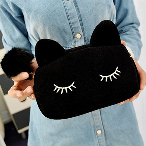Sleepy Kitty Cat Cosmetic Bag Pencil Pouch Makeup Brush Case Travel Clutch Handbag Purse Cute Kawaii Fashion (Black)