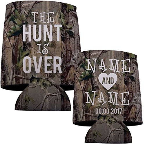 """VictoryStore Can and Beverage Coolers: Neoprene Customizable Camouflage """"The Hunt Is Over"""" Wedding Can Coolers - -"""