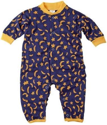 Bebé Pelele de bebé de una sola pieza 100% algodón suave Batik Jersey azul con lunas y estrellas amarillas 6 mths Color: Azul Luna y Estrellas Tamaño: 6 Meses: Amazon.es: Bebé