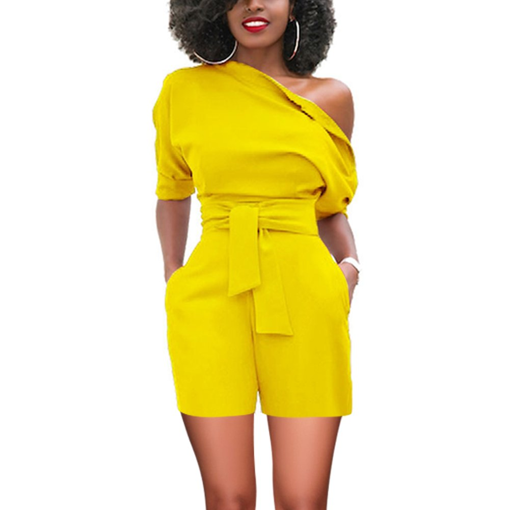 Women High Waisted Bodycon Vantage Jumpsuits One Off Shoulder with Pockets