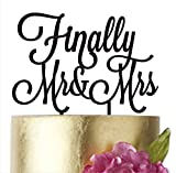 Wedding Cake toppers Finally Mr and Mrs, Cake Topper Wedding, Mr&Mrs, Finally Cake topper, Anniversary, Cake Decorating Supplies, Gold Silver Black White Mirror (width 6'', silver mirror)