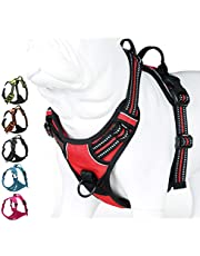 JUXZH Soft Front Dog Harness .3M Reflective No Pull Harness with Handle and Two Leash Attachments