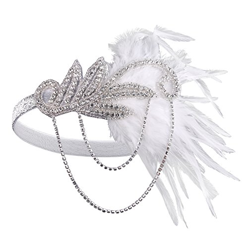 [BABEYOND Women's Flapper Feather Headband 1920s Headpiece Vintage Hair Accessories Crystal Headband] (Flappers 1920)