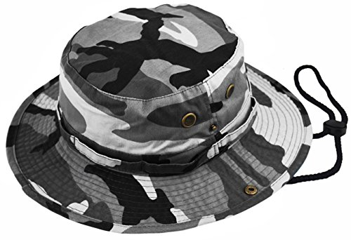 Deewang Summer Bucket Cap, Sun Hat With Adjustable CHINSTRAP, Outdoor Hunting Fishing Safari boonie Hat (City-Camo, Large/X-Large)]()