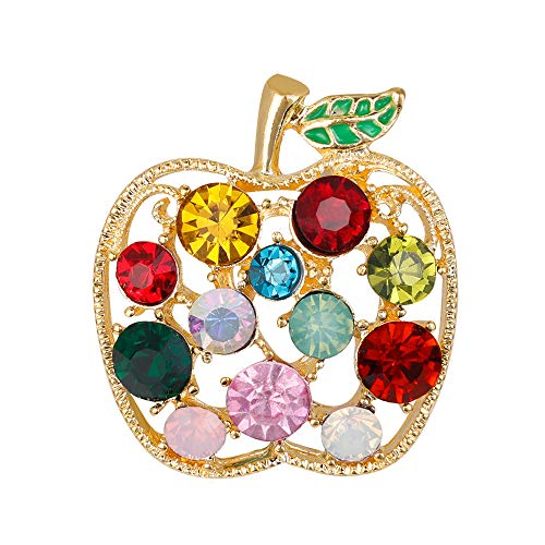 Brooch Pin Fruit (Full Rhinestone Fruit Apple Brooches Women Shinnig Dress Coat Hat Broches Luxury Bijouterie Jewelry (Gold))