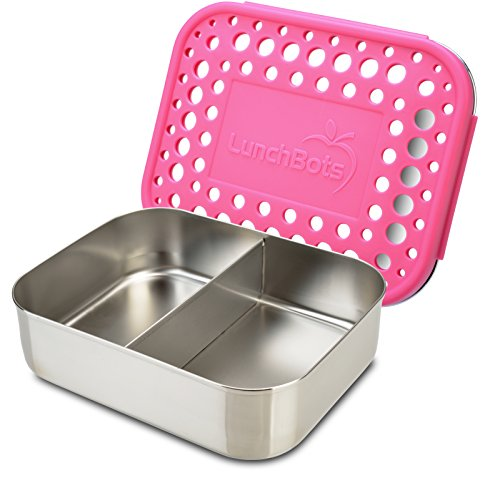 LunchBots Duo Stainless Steel Food Container - Two Section Design Perfect for Half of a Sandwich and a Side or...