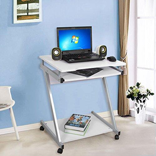 songmics bureau informatique table informatique meuble de bureau pour ordinateur couleur blanc. Black Bedroom Furniture Sets. Home Design Ideas