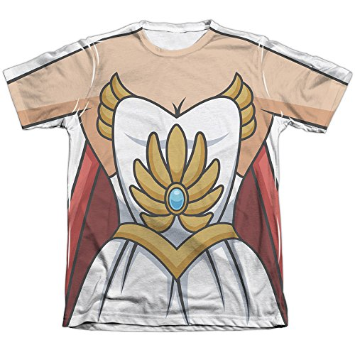 She Ra Costume Mens Sublimation Poly Cotton Shirt (White, Large) (Shera Costumes)