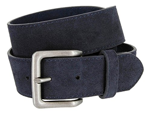 Square Buckle Casual Jean Suede Leather Belt for Men (Navy, 34) - Casual Square Buckle