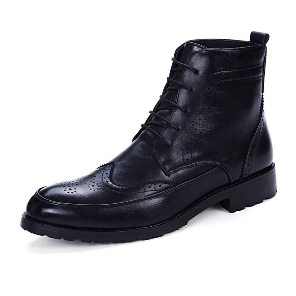 Herren Stiefeletten Lace up Anti-Rutsch Soft PU Leder High Top Oxford Schuhe (Farbe   Schwarz, Größe   42 EU) (Farbe   Schwarz, Größe   42 EU)