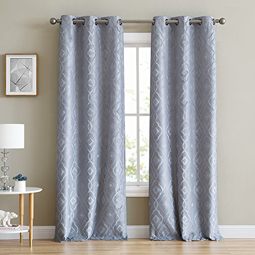 """HLC.ME Trellis Flocked 100% Blackout Thermal Window Curtain Grommet Panels - Energy Efficient, Complete Darkness, Noise Reducing - For Living Rooms & Bedrooms - Set of 2 (37"""" W x 96"""" L, Light Grey)"""