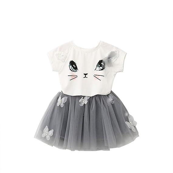 Vestido de Niña,Vestido de bebé Vestido de Mariposa Vestido y Gato Camisa de