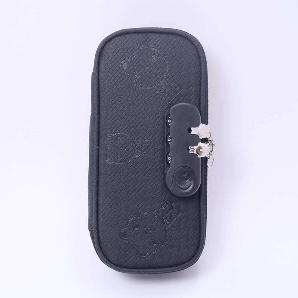 Yiwa - Estuche para lápices con candado de contraseña, color sólido, color negro: Amazon.es: Oficina y papelería