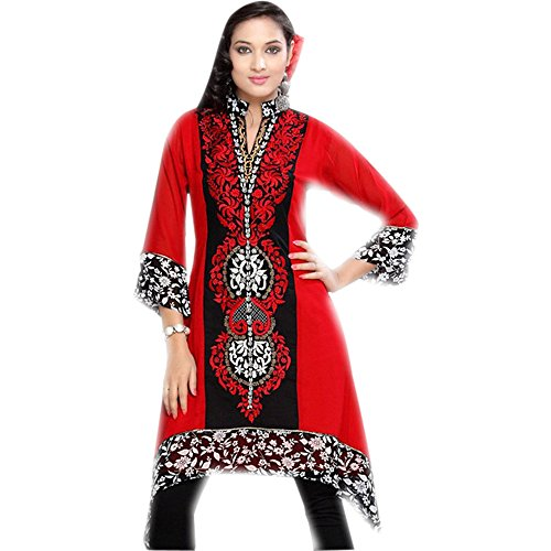 Jayayamala Women Red Georgette Tunic Collar Neck Embroidered Top Party Dress (xxxl)