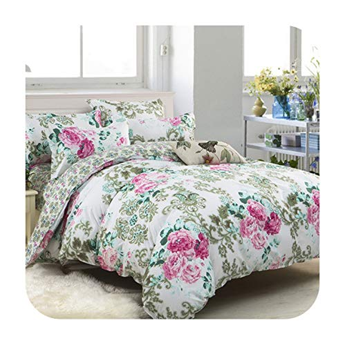 Barry-Story Beddings Blue White Plaid 4/3pcs Kid Adult Bedding Sets Simple Letter Duvet Cover Modern Fashion Bed Sheet Bedclothes Pillowcase,style12,Twin XL 4pcs,Flat Bed Sheet ()